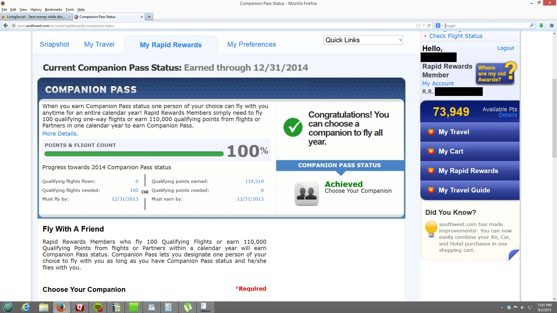 Southwest Companion Pass Earned